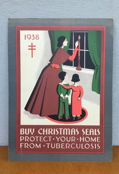 Lovely ART DECO 1938 POSTER Buy Christmas Seals PROTECT AGAINST TUBERCULOSIS