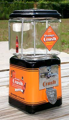 VINTAGE 1950s OAK Brand *ORANGE CRUSH* Gumball Peanut and Candy vending machine..Interesting conversation piece..