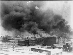 Black Wall Street in Tulsa went up in flames June 1, 1921, in the KKK-led Tulsa Race Riot. During the 16 hours of the assault, over 800 people were admitted to local hospitals with injuries, an estimated 10,000 were left homeless, and 35 city blocks composed of 1,256 residences were destroyed by fire caused by bombing. — in Tulsa, Oklahoma.