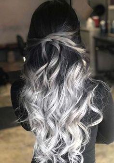 33 blonde or caramel sweeping ideas for gorgeous hair - HAIR - Hair Color Hair Dye Colors, Ombre Hair Color, Cool Hair Color, Ombre Silver Hair, Long Hair Colors, Silver Hair Colors, Black To Grey Ombre Hair, Black And Silver Hair, Black Hair