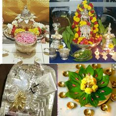 Kalash lakshmi and beetel leaf lamp in centre Diwali Decorations, Flower Decorations, Table Decorations, Silver Pooja Items, Pooja Room Design, Silver Ornaments, Pooja Rooms, Gods And Goddesses, Art For Kids
