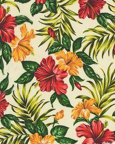 Hibiscus Retreat - Tropical Panache - Cream - BARKCLOTH