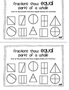 Free Kindergarten Fractions Printables Resources & Lesson Plans ...
