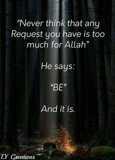 """Never think that any request you have is too much for Allah, He says, """" Be """" and it is. Islamic Qoutes, Muslim Quotes, Alhamdulillah, Hadith, Quran Quotes, Hindi Quotes, Islamic Page, Eid Greetings, Peaceful Life"""