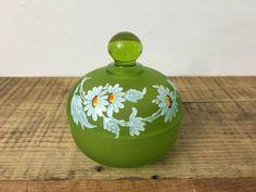 Vintage Westmoreland Satin Green Glass Covered Trinket Candy Dish Daisies #MidCenturyModern