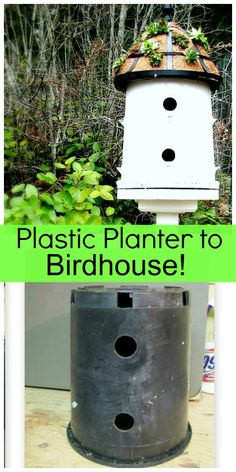 upcycle a black plastic planter pot into a birdhouse tutorial from Blue Roof Cabin {DIY Saturday featured project @ A Cultivated Nest} Planters Planters diy Planters pots Planters raised Planters vegetable Diy Garden Projects, Garden Crafts, Outdoor Projects, Easy Bird, Blue Roof, Bird House Kits, Bird Houses Diy, Plastic Pots, Kit Homes