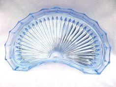 Blue Glass Tray Dressing Table Trinket Set Tray Art Deco