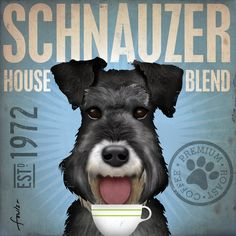 Schnauzer coffee company original illustration graphic artwork on canvas 12 x 12 by stephen fowler. $79.00, via Etsy.