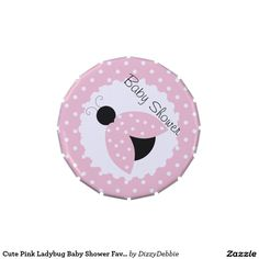 Cute Pink Ladybug Baby Shower Favor Candy Tins