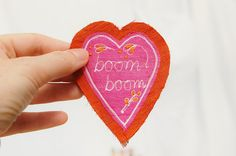 SALE textile art silk heart brooch  'boom boom' by materialised