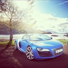 Sky blue Audi R8! with a very cool view!