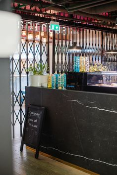 Sushibar + Wine Citycenter Helsinki has a counter covered with Florim Stone Marble Marquinia slab. Slab size is cm so it allows multiple design and furnishing solutions. Large Format, Public Spaces, Helsinki, All Design, Counter, Tiles, Marble, Indoor, Restaurant