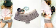 crochet panty *boheme* warm grey cotton wool / rosé cotton yarn