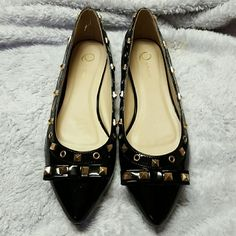Studded Flats Q by Esquire Q by Esquire studded flats. NEW. Black. They've been sitting in my closet since I bought them!  May have a few scuffs from other shoes in my closet, but NEVER WORN! Shoes Flats & Loafers