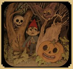 A still-not-final Wirt design, introducing the cape and hat. They were elements taken from, embarrassingly enough, a rock & roll persona that I used to daydream about. I bought a civil war cape and made a red hat like this and used to play electric. Garden Wall Art, Over The Garden Wall, Cartoon Creator, Ligne Claire, Fanart, Hallows Eve, Blue Bird, New Art, Cool Art