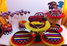 Cars | DECORACIONES INFANTILES: CARS 2 Car Themed Parties, Cars Birthday Parties, 3rd Birthday, Car Themes, Sesame Street Birthday, Hot Wheels Cars, Disney Cars, Holidays And Events, Centerpieces