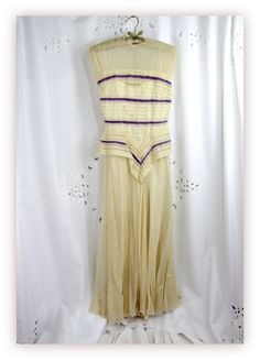 Vintage 40s Sheer Ivory Peplum Gown with Lavender Insert Trim.
