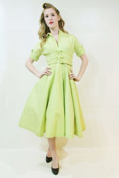 Vintage 1950's Chartreuse party dress for sale at ScarletFury, $128.00 Women's vintage fashion clothing
