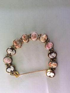 Antique 18 Carat Gold Victorian Cameo Shell Bracelet Brooch Italian Vintage Pink