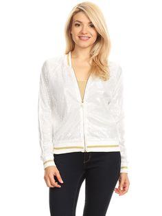 Striped Metallic Sequin Varsity Jacket - Medium / White