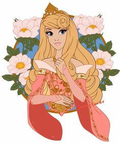 Princess Aurora in pink with beautiful flowers