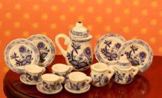 New!!! Dollhouse Miniature Tea Set in Blue and White
