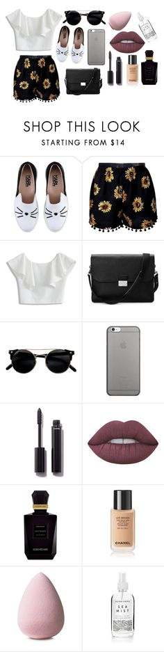 """Sunflowerrrrss (Comment  if u love cat emojis)"" by xraeraex ❤ liked on Polyvore featuring Karl Lagerfeld, Chicwish, Aspinal of London, Native Union, Chanel, Lime Crime and Keiko Mecheri"