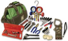 Quality refrigeration/air-conditioning products and tube working tools, in a durable, portable tool bag. It features 17 pockets of variable sizes to store your tools and equipment....