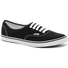 Vans Lo Pro Classic Black and White Lace Up Trainers (410 HRK) ❤ liked on Polyvore featuring shoes, sneakers, vans, chaussures, sapatos, black, lace up shoes, black and white sneakers, vans sneakers and lace up sneakers