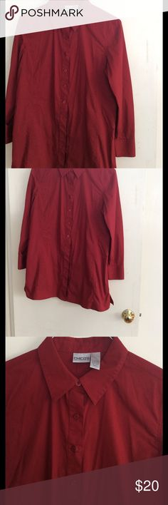 Chico's long button down tunic Blouse Beautiful Crimson color Blouse that is long mid thigh and can be worn out with skinny jeans or leggings. Size 2 is a Large Chico's Tops Button Down Shirts