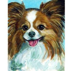 Papillon Dog Art 8x10 Print of Original Painting by DottieDracos