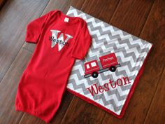Personalized Baby Set Infant Gown Set Minky by FunnyFarmCreations, $68.00