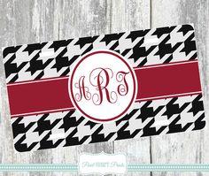 MONOGRAMMED LICENSE PLATE Black Red Alabama Crimson Tide Roll Tide College Football Fans Sports Team License Plate https://www.etsy.com/shop/Pearlheartprints?ref=hdr_shop_menu