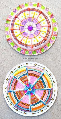 Paper Plate Madala Q-tip Craft