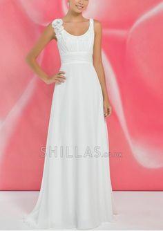 Shoulder Straps A-line Beach Wedding Dresses With Flower - 1540244 - Wedding Dresses