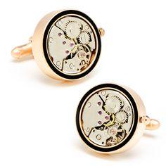 Matte Rose Gold & Onyx Inlaid Watch Movement Cufflinks by Cufflinksman