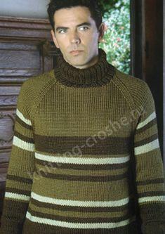 Для работы над вязаным мужским свитером потребуется  350 г пряжи (70 % акрил, 30 % шерсть) сре