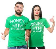 3333290fe St. Patrick's Day Couple Green Shirts Drinking Party Shirts Mens Green T- shirt Womens Green T-shirt