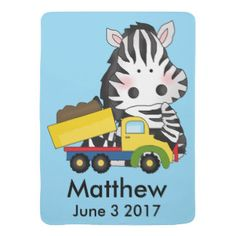 Matthew's Personalized Zebra Swaddle Blanket