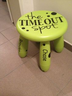 This is a time out stool I made for a friend. Kid Chair, Chair Redo, Paint Furniture, Kids Furniture, Furniture Makeover, Step Stools, Diy Stool, Grandchildren, Grandkids