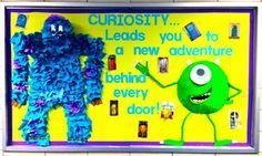 Monster Bulletin Boards, Disney Bulletin Boards, Monster Theme Classroom, Creative Bulletin Boards, Kindergarten Bulletin Boards, Bulletin Board Design, Reading Bulletin Boards, Disney Classroom, Classroom Bulletin Boards