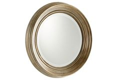Sometimes less is more, and this iron wall mirror proves just that, thanks to its classic shape and sleek, beveled frame. Silver Wall Mirror, Mirror Art, Wall Mirrors, Iron Wall, Round Mirrors, Ski Chalet, Bathroom, Powder Room, Room Ideas