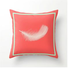 Feather Design 2  Pantone Hemlock and coral  by bbrunophotography, $35.00