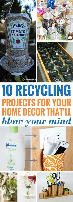 10 Recycling Projects That Will Blow Your Mind Craftsonfire : Recycling Projects That Will Blow Your Mind So happy to have found these amazing diy projects for the home! Some really great thing you can recycle and make. Definitely saving for the future Recycled Decor, Upcycled Home Decor, Upcycled Crafts, Diy And Crafts, Repurposed Furniture, Handmade Furniture, Antique Furniture, Easy Crafts, Things You Can Recycle