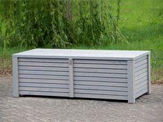 Auflagenbox / Kissenbox aus Holz, Oberfläche: Transparent Geölt Grau