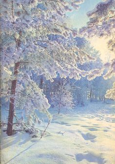 russia winter postcard