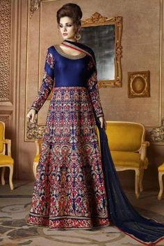 Exclusive designer, Anarkali churidar mulberry silk prom design, Blue zari embroidered wedding wear now in shop. Andaaz Fashion brings latest designer ethnic wear collection in UK