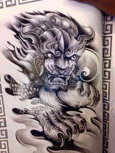 Hhhh Foo Dog Tattoo, Tiger Tattoo, Lion Tattoo, Tatoo Art, Body Art Tattoos, Tattoo Drawings, Japanese Snake Tattoo, Japanese Sleeve Tattoos, Tatuajes Tattoos