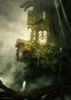 Image from fantasy and syfy. Fantasy Places, Fantasy City, Fantasy Kunst, Fantasy World, Art Environnemental, Fantasy Concept Art, Fantasy Setting, Arte Horror, Matte Painting