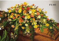 Funeral Sprays for Men | spring casket spray mixed flowers open casket includes gerberas ...
